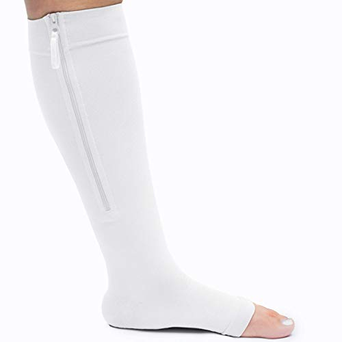 Zippered Medical Compression Socks with Zipper Safe Protection & Open Toe (Sizes Med to Wide 6XL)- Support Stockings for Men & Women (3XL-Calf 17-19 inch White)