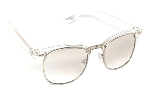 WebDeals - Vintage Classic Half Frame Horn Rimmed Browline Design Sunglasses (Clear, Silver - Women Sunglasses Browline