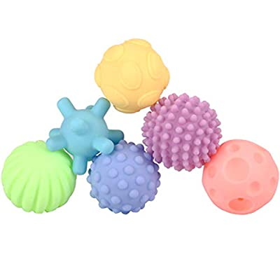 Infant Sensory Balls Silicone Massage Soft Ball Baby Textured Multi Ball Colorful Child Touch Hand Ball Toy 6pcs : Baby