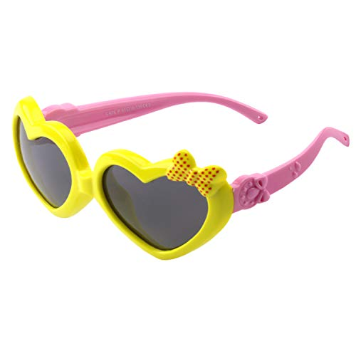 CGID Soft Rubber Kids Girls Heart shaped Polarized Sunglasses for Children,K78