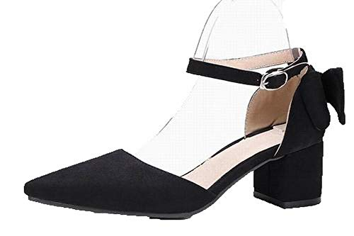 Sandals Suede Women Heels VogueZone009 Closed Low Buckle Black Imitated Toe CCALP015580 4dq8wX