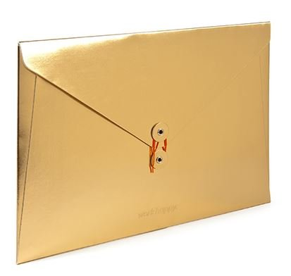 """Metallic Gold Soft Cover Folio, 13"""" x 9"""", Holds Letter-Size Documents"""