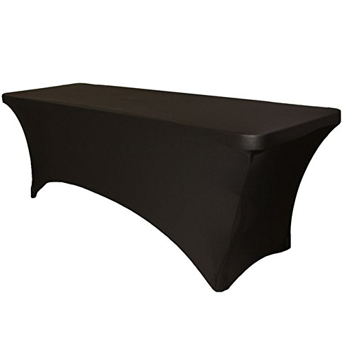 Rectangular Stretch Tablecloth (Black)-Spandex Tight Fit Table Cover for parties, trade shows, Djs, weddings and events of ALL kinds. (4 Foot) (48x30x30 inches, Black)