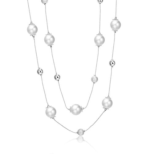 PAMTIER Women's Pearl Station Necklace Simulated Beads Long Sweater Chain ()