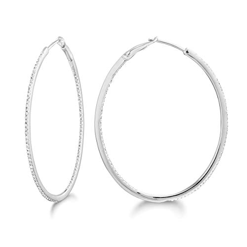 14K Gold and Diamond Round/Oval Hoops Fashion Earring ()