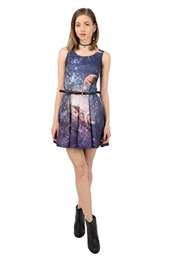 CowCow Womens Planets 2 Skater Dress, Planets - XL]()