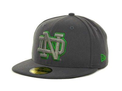 Rare Size 7 5/8 Fitted New Era Notre Dame Fighting Irish NCAA Gray Pop 59FIFTY Cap Hat Lucky Shamrock Logo