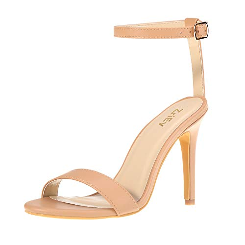 ZriEy Women Fashion Sexy Open Toe Ankle Straps High Heel Sandals Wedding Party Shoes Nude Size ()