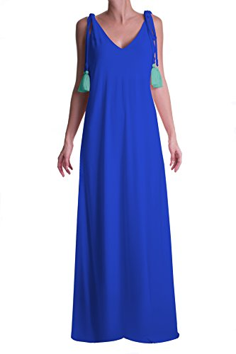 PERINOLA Women's Sleeveless Maxi Tassels Dress (Blue),One Size