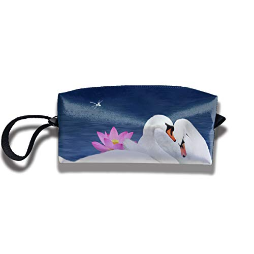 Cosmetic Bags With Zipper Makeup Bag White Swan And Butterfly Lotus Middle Wallet Hangbag Wristlet Holder -