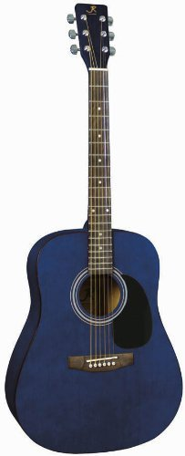 J. Reynolds JR65TBL Full-Size Dreadnought Acoustic Guitar - Transparent Blue