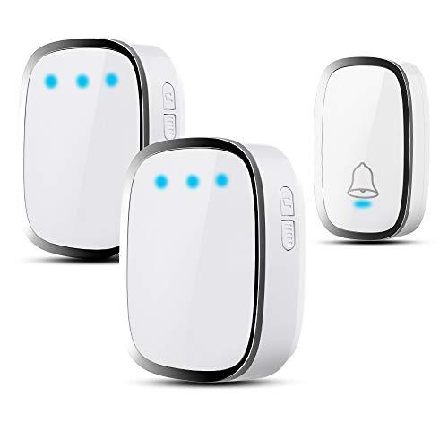 Wireless Doorbell Chime Waterproof Remote 2 Plug-in Receivers 1000-Feet...