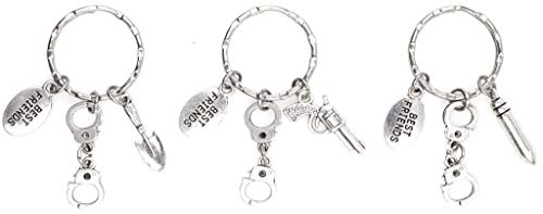 It's All About...You! 3 Keychain Set: Partners in Crime Handcuffs Best Friend Gun Bullet Shovel Charms 106Q