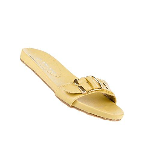 Damen Schuhe Sandalen Moderne Schnallen Deko Sandaletten Gelb