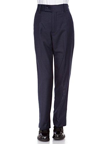 (RGM Boys Dress Pants Flat-Front Slim fit - Poly Rayon Slacks Giovanni Uomo Navy 16)