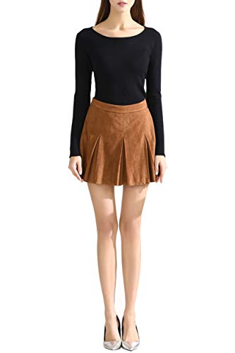 (Little Smily Women's A Line Faux Suede High Waist Pleated Mini Skirt, Camel,)