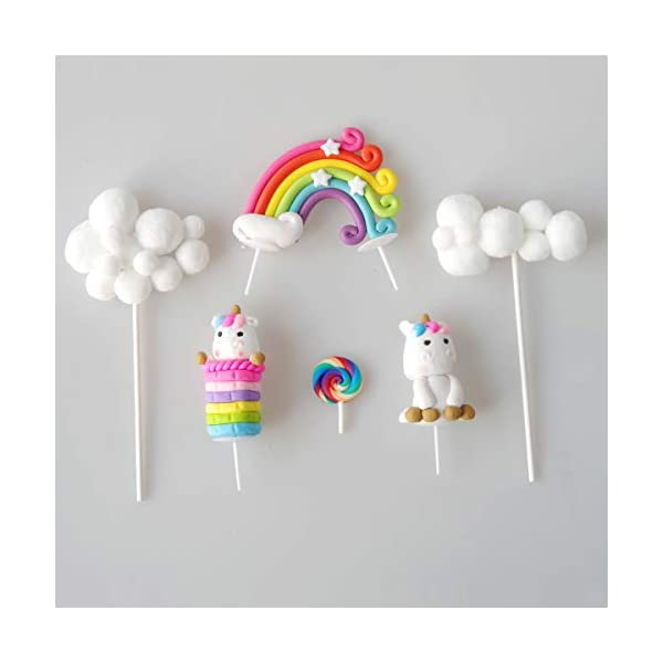Cloud Rainbow And Unicorn Cake Toppers Kit (Set of 6)Kids Girls Birthday Cake Decoration Baby Shower Party Cake Decorations 5