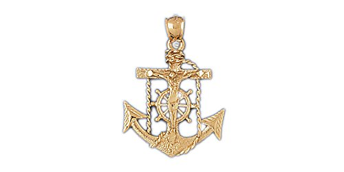 14k Yellow Gold Mariners Cross/Crucifix Pendant (Approximate Measurements 22mm x 33.5mm) 14k Yellow Gold Mariners Cross