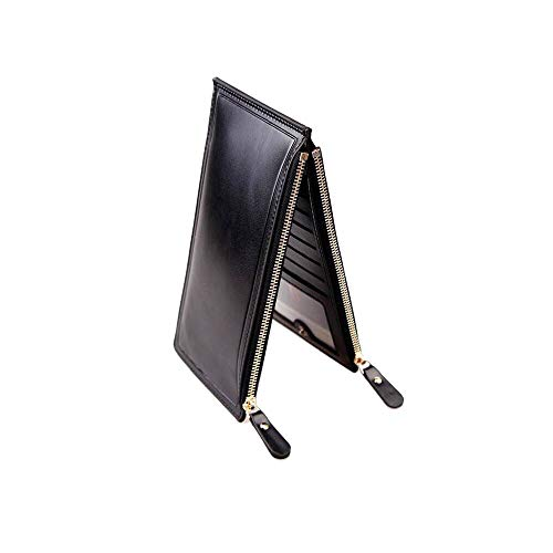 - TIDE ON Ladies Purse RFID Multi-card Wallet Aarteras De Mujer Genuine Ultra thin PU Leather Bag Double Row Zipper Clasp Purse (Black)
