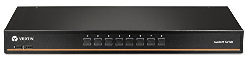 Vertiv Avocent 1x8 Rackmount or Desktop, Single-User KVM Switch With USB, OSD Support, Touch Button and Hotkey Switching, Cascade Support and Internal Power Supply (AV108-400)