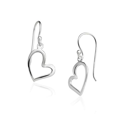 Big Apple Hoops - Genuine 925 Sterling Silver Open Heart Dangle Earrings | High Polish Mirror Finishes