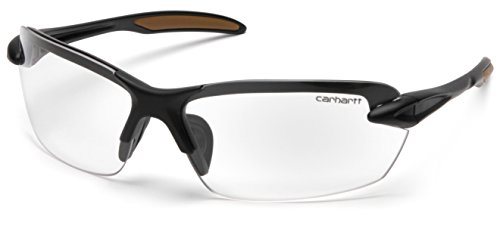 Carhartt Spokane Lightweight Half-Frame Safety Glasses, Black Frame, Clear Lens
