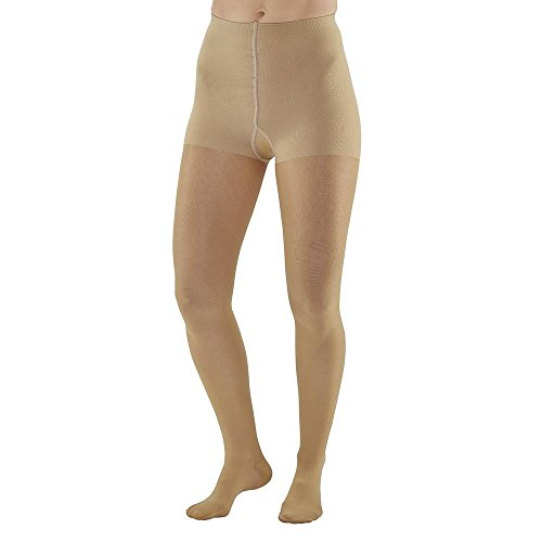 Ames Walker AW Style 270 Signature Sheers 15-20mmHg moderate Compression Closed Toe Pantyhose w Control Top Silky Nude Medium - Relieves pain of tired aching legs - Mild Varicosities and edema by Ames Walker