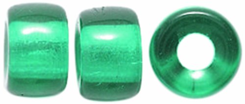 Preciosa Ornela Traditional Czech Glass Crow Roller 80-Piece Beads, 9mm, Transparent Dark Emerald (Roller Crow)