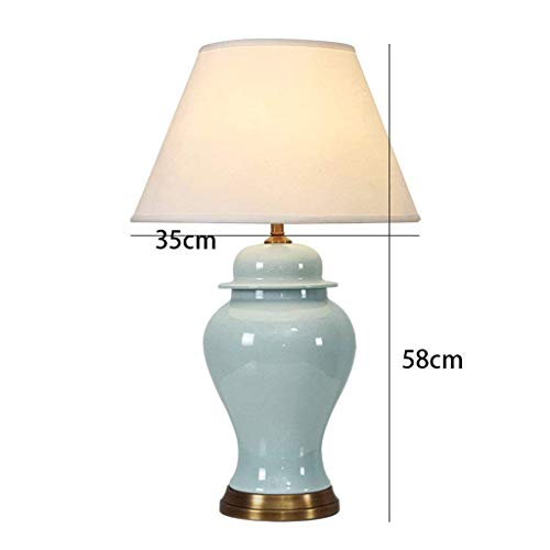 AOLI Table Lamp American Luxury Living Room Ceramic Table Lamp Neoclassical Model Room Bedroom Bedroom Bedside,H58Cm35Cm - Neoclassical Vase Base