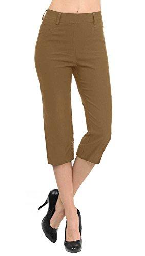 Collection Womens Dress - VIV Collection New Women's Straight Fit Trouser Capri Pants (Large, Mocha)