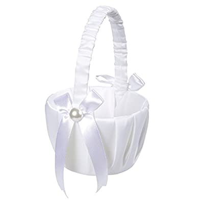 Juvale Flower Girl Basket – White Flower Basket, Wedding Basket for Matrimony Processions, Cute Satin Holder for Rose Petals, Reception Decoration, White, 8.7 x 5.2 x 4.2 Inches