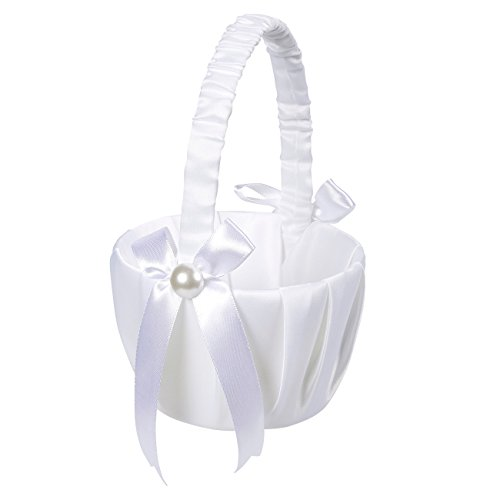 Juvale Flower Girl Basket - White Flower Basket, Wedding Basket Matrimony Processions, Cute Satin Holder Rose Petals, Reception Decoration, White, 8.7 x 5.2 x 4.2 inches
