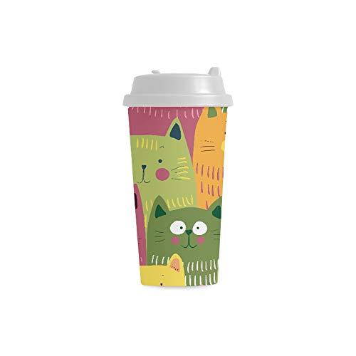 Tazas de café pequeñas Dibujos animados Gatos verdes, amarillos y ...