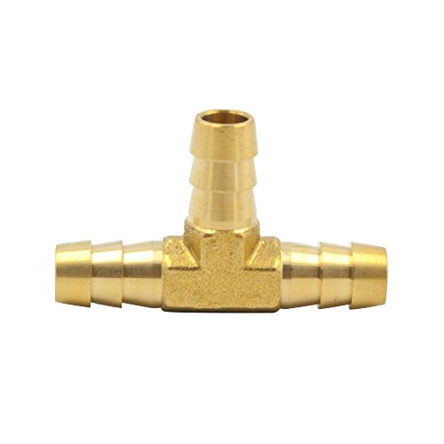 Legines Brass Hose Splicer Fitting, Barbed Tee, 1/4