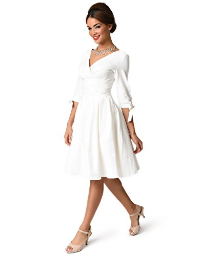 Unique Vintage 1950s Style White Three-Quarter Sleeve Diana Swing Dress by Unique Vintage