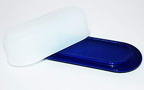 Tupperware Butter Dish Tokyo Blue Base with Sheer White Lid