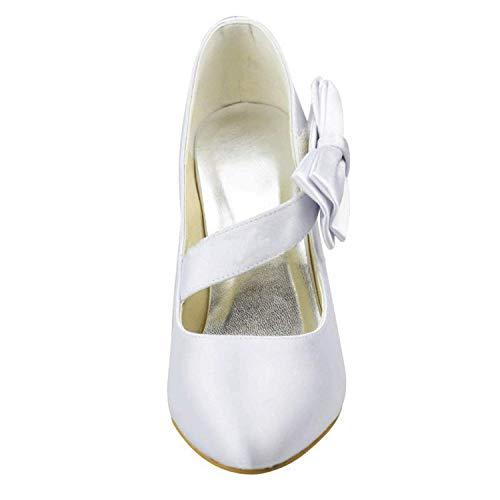on on on 4 UK Raso da Slip Scarpe White White White White Dimensione Heel 5 9 in ZHRUI 9 da Donna White 5cm Donna 5cm Heel Colore da Sera CYnqT