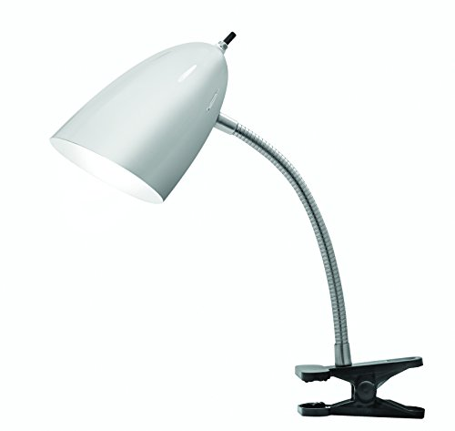 - Tensor 17974-002 19-inch Gooseneck Clip-On Desk Lamp with Brushed Steel Shade