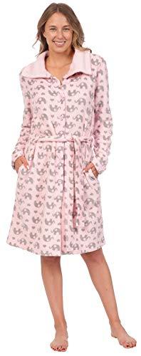 Patricia Women's Soft Minky Polar Fleece Robe (Pink Elephant Print, Medium)