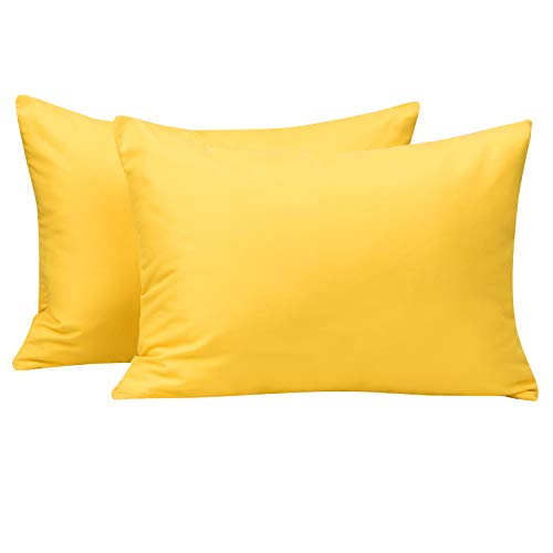 NTBAY Toddler Pillowcases, 100% Silky Soft Microfiber, Travel Pillow Covers Set of 2, Zipper Closure, 13 x 18, Yellow