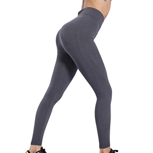 b34db6b84d KLGDA Women's High Waist Yoga Pants Running Pants Workout Leggings Tights  Non See-Through Fabric Gray