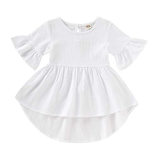 YOUNGER TREE 1-5T Toddler Baby Girls Dress Summer Flare Sleeve Solid Color Irregular Sundress (White, 4-5 T)