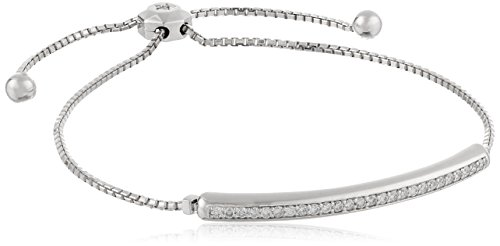 AGS Certified 1 2 Cttw Brilliant-Cut Diamond 14K White or Yellow Gold Curved Bar Bolo Style Bracelet I-J Color, SI2-I1 Clarity – Adjustable 6 -9
