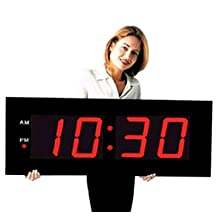 """Large Digital LED Clock - Giant 8"""" Numeral Red LED Wall Clock With Remote Control"""