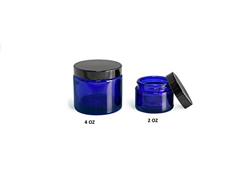 Blue 2 oz Glass Jar Black Lid - Pack of 12 by Premium Vials