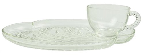 Federal Glass Homestead / Hospitality Snack Set ( Green Box ) ( Cups & Plates ) ( 8 Piece / Set of 4 )