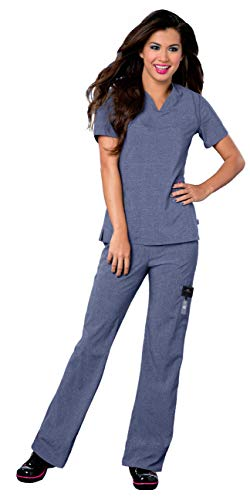 - Landau Smitten Women's Scrub Set Bundle - S101002 Rock Goddess V-Neck Top & S201002 Hottie Cargo Drawstring Flare Leg Pants & Marc Stevens Badge Reel (Heather Blue - XX-Small/XX-Small)