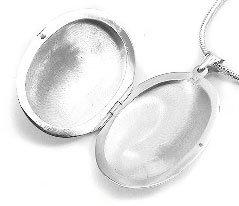 Huge Sterling Silver Near 2'' Large Oval Locket Pendant