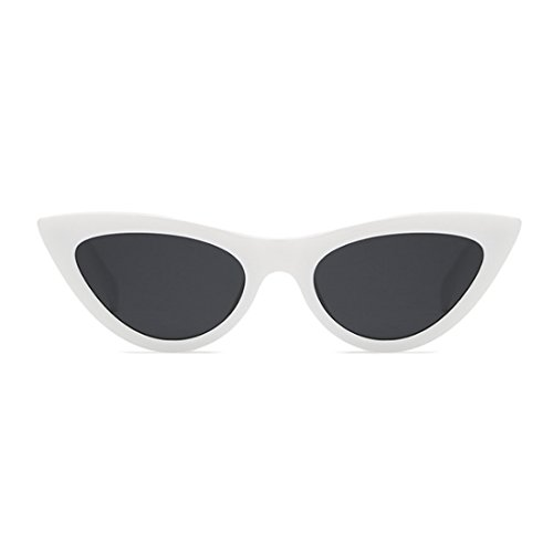 Frame Cat Mujeres Vintage Blanco Eyewear sunglasse Retro Goggles Yefree Pequeñas Eye Plastic Gris OwSHRvqT