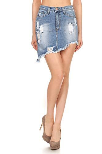 Vibrant Asymmetrical Denim Skirt (K1187-MS-L)